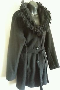 CYNTHIA ROWLEY Sz XL black 100% boiled wool button belted cardigan sweater long