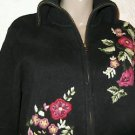 Tiara International Black Floral Zip Cardigan Sweater S Ramie/Cotton Blend
