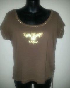 Fleur de Lis LENA JEANS Brown Shirt Womens sz L Scoop Neck 100% Cotton Knit Top