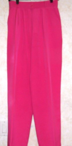 "Peter Nygard Women's Sz 6 Fuchsia 100% Silk Pants Saks Fifth Ave.Pleated 31"" L"