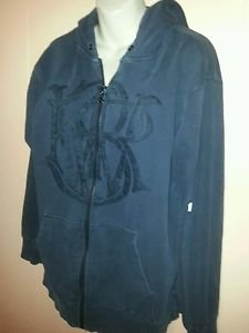 Mens KR3W Black Textured Graphic Hooded Top Large Long Sleeve Pre-owned Solid
