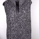 Black white zip front 100% cotton TALBOTS multi-knit sweater vest PS
