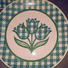 8 x Royal China Cavalier Ironstone Green Blue Tulip Dinner Plate