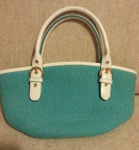 Brand New!! Mini Tote *Thirty One 31*The Buckle* Turquoise & White Handbag Purse