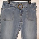 "Women's Bailey's Point Medium Wash Jeans Size 10 Denim Belt 32"" Inseam 34"" Waist"