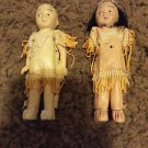"Bisque Native American Indian Doll Boy and Girl 1960s  3 1/2"" Read Condition"
