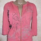 Disney Tinkerbell Watermelon Zip Hoodie Ribbed Thermal S Disneyland Resort Pink