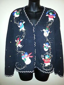 Women's Christmas Sweater PLANET & CO L Snowmen Multi Color Cardigan Vneck L/S