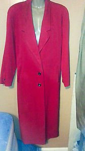 Women's Pendleton 100% Wool Full Length Dress Coat Solid 10 Red Lined Portland