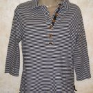 New! Women's JONES NEW YORK SIGNATURE Blouse M Blue White Stripe 1/2 Button 3/4