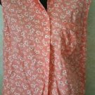 Women's Eddie Bauer Orange White Floral Button Sleeveless Cotton Blouse Size L