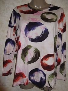 New! Women's VERA WANG Blouse Long Sleeve Multi-Color 100% Cotton Size Large