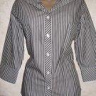 New! Women's CHICO's Blouse Black White Stripe Sz 0 Button Career 100% Cotton