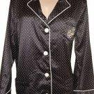 New! Women's 2pcs. RALPH LAUREN Pajama Set Black Pink Polka Dot Top Bottoms L