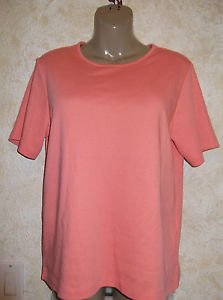 New! Women's TOG SHOP Knit Top Solid Melon Blouse M Short Sleeve Cotton Blend
