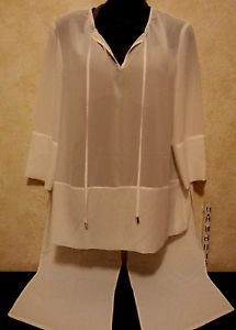 CHICO'S BLACK LABEL sheer white hi low blouse one size long sleeve long tails