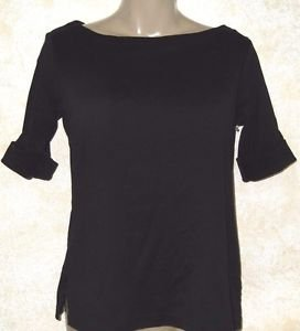 New! Women's Solid Black S Blouse KAREN SCOTT 100% Cotton Knit Top Career Casual