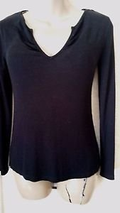 New!  Women's Black ENERGIE Long Sleeve Ribbed Knit Top L Rayon/Spandex Casual