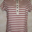 New! Women's LRL Lauren Jeans Co. Ivory Red Stripe Knit Top Short Sleeve Sz M
