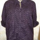 New!  Women's Blouse SONOMA L Purple Lavender Floral Print Button 100% Cotton