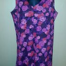 Women's dress handsewn pink red roses v neck knee length anywear polyester M
