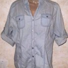 Women's Chambray ALMOST FAMOUS Button Blouse XL 3/4 Rolled Sleeve 100% Cotton
