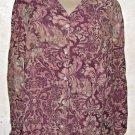New Women's LIZ CLAIBORNE Multi-Color Paisley Floral Blouse XL Rayon Long Sleeve