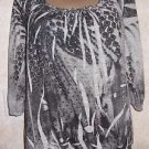 New! Women's AMERICAN RAG CIE Sz L TIssue Screen Print Casual Blouse Gray