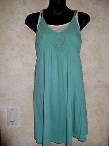 Women's Jrs.AMERICAN RAG CIE Sz. M Green White Tunic Halter Mini Dress Crochet