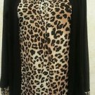 Women's Blouse JASON MAXWELL Small Animal Print Black Long Sleeve Wrap Career