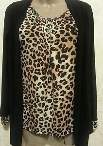 Women's Blouse JASON MAXWELL Small Animal Print Black Long Sleeve Wrap Career
