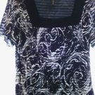Woman's black white paisley blouse size small S fitted semi sheer short sleeve