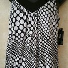 BCX Women's Med Black White Sleeveless T  Back Tank Blouse May's Reflection NWT!