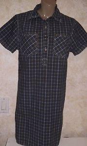 Women's ERICA & CO. Heavy Cotton TShirt Dress Size M Multi-Color Plaid S/S