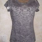 Women's Jrs. Knit Top M Tissue Print Gray White M Cotton Blend Semi Sheer Blouse
