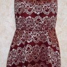Women's Girls Jrs. A-LIST Sleeveless Sheer Overlay Lace Dress Maroon Silver Zip