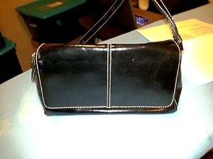 Women's small brown patent leather handbag Liz Claiborne pre owned