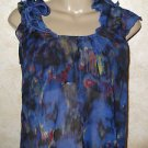 Women's sz S blue floral sheer blouse ANGIE polyester sleeveless zip back casual