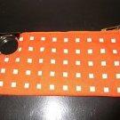 "Women's Small Clutch LIZ CLAIBORNE Orange White Polka Dot Gold Zipper 9"" x 4"""