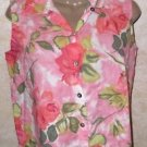 Women's sleeveless floral blouse DRESSBARN S multi color pink white beige green