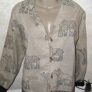 New Identity Lightweight Jacket Woman's Blouse Beige Black Animal Graphics XL