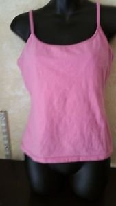 Women's LANES Pink Cami Tank Top Spaghetti Strap Built in Bra Size Large
