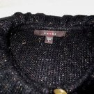 New! Women's cardigan sweater FEVER L acrylic/cotton/polyester s/s black flecks