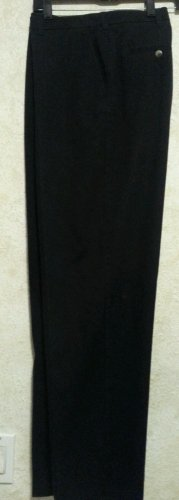 New!  Mens Big & Tall Van Heusen Slacks 38/32 Solid Black Flat Front 100% Cotton