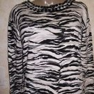 New! Women's JONES NY Petities PS Career Blouse Animal Print Jeweled Neckline