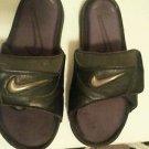 Women's NIKE velcro flip flop sandals size 5 black flat heel vegan adjustable