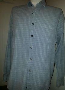 Mens Gray Faint White Stripe CLUB ROOM Long Sleeve Shirt L Large 100% Cotton EUC