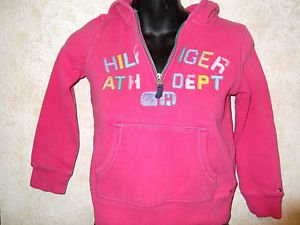 Girls Pink TOMMY HILFIGER Zip Neck Graphic Hoodie Size Small