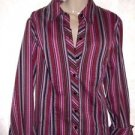 Women's Vtg. Lane Bryant 14/16 Multi-Color Striped L/S Button Blouse