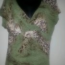 Claudia Richard womens shirt top blouse animal print wrap stretch short sleeve L